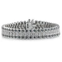 Blue And White Diamond Bracelet in 14k White Gold