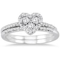 3/8 Carat Heart Diamond Bridal Set in 10k White Gold