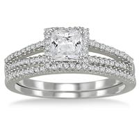 4/5 Carat Princess Cut Diamond Bridal Set in 10K White Gold