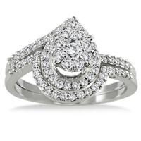 3/4 Carat Antique Diamond Bridal Set in 10K White Gold