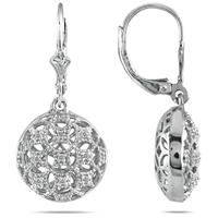 1/10 CTW Diamond Circle Puff Earrings in .925 Sterling Silver