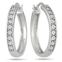 Szul.com - 1/10 Carat Diamond Hoop Earrings in .925 SS - $36