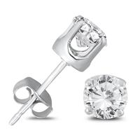 3/4 Carat TW Round Solitaire Diamond Stud Earrings in .925 Sterling Silver