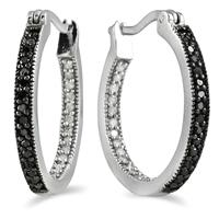 1/3 CTW Genuine Black and White Diamond Hoop Earrings in .925 Sterling Silver