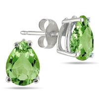 5x3MM All Natural Pear Peridot Stud Earrings in .925 Sterling Silver