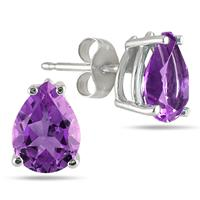 All-Natural Genuine 8x6 mm, Pear Shape Amethyst earrings set in Platinum
