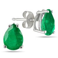 All-Natural Genuine 8x6 mm, Pear Shape Emerald earrings set in Platinum