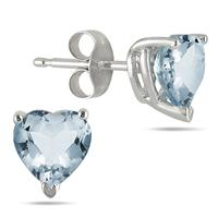 4MM All Natural Heart Aquamarine Stud Earrings in .925 Sterling Silver