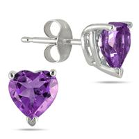 All-Natural Genuine 5 mm, Heart Shape Amethyst earrings set in Platinum