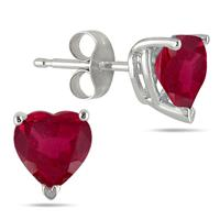 5MM All Natural Heart Ruby Stud Earrings in .925 Sterling Silver