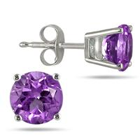 All-Natural Genuine 4 mm, Round Amethyst earrings set in Platinum