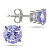 5MM All Natural Round Tanzanite Stud Earrings in .925 Sterling Silver