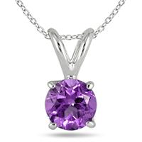 All-Natural Genuine 7 mm, Round Amethyst pendant set in Platinum