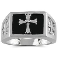 Men's Onyx and Diamond Cross Ring in 10K White Gold