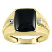 Men's Onyx and Diamond Ring in 10K Yellow Gold
