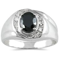 Men's Diamond and Onyx Ring in 10K White Gold