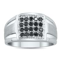 1/2 Carat Black Diamond Men's Ring in White Gold