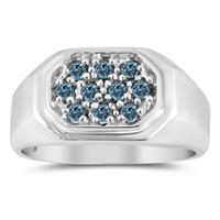 Blue Diamond Men's Ring in White Gold