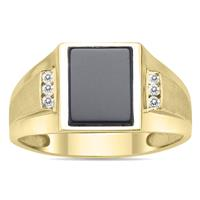 10K Yellow Gold Onyx and Diamond Men's Ring