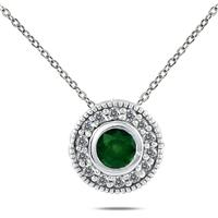 1/6 CTW Diamond and Emerald Pendant in 10K White Gold