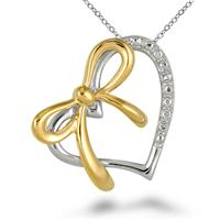 18K Gold Plated Diamond Heart Pendant in .925 Sterling Silver