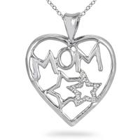 Diamond Heart and Start MOM Pendant in .925 Sterling Silver