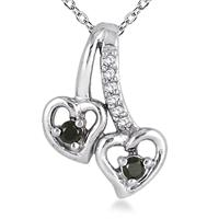 1/10 Carat Black and White Diamond Double Heart Pendant in 10K White Gold