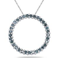 1/2CT Blue Diamond Circle Pendant in White Gold