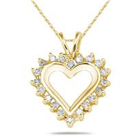 1/4CTW Diamond Heart Pendant 10k