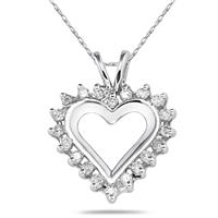 1/4 Carat Diamond Heart Pendant in 14K White Gold