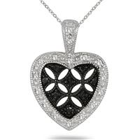 1/6 Carat T.W Black and White Diamond Heart Pendant in .925 Sterling Silver