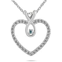 1/4 Carat Genuine Blue and White Diamond Heart Pendant in .925 Sterling Silver
