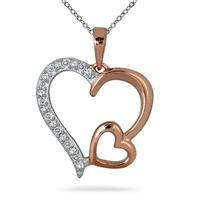 1/10 Carat Diamond Heart Pendant in 18K Rose Gold Plated Sterling Silver