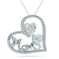 14K White  Gold Heart Shaped MOM Pendant