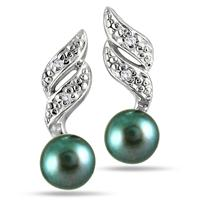 5-5.5 mm Freshwater Black Pearl and Diamond Earrings in .925 Sterling Silver