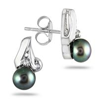 5mm Freshwater Black Pearl and Diamond Earrings in .925 Sterling Silver
