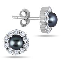 5mm Freshwater Black Pearl and Genuine White Topaz Earrings in .925 Sterling Silver