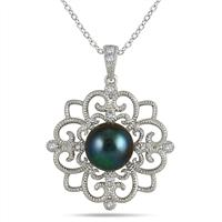 10mm Freshwater Black Pearl and Topaz Snowflake Pendant in .925 Sterling Silver