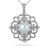 10mm Freshwater White Pearl and Topaz Snowflake Pendant in .925 Sterling Silver