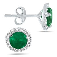 1.00 Carat Emerald and Diamond Stud Earrings in 14K White Gold