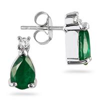 Emerald and Diamond Earring in 14kt White Gold