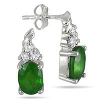 2.40 Carat Oval Emerald and Diamond Earrings in .925 Sterling Silver