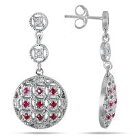 7/8 Carat Ruby and Diamond Circle Puff Earrings in .925 Sterling Silver