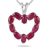 Ruby Heart Shaped Pendant in 10kt White Gold