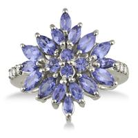 2.00 Carat Tanzanite Starburst Ring in .925 Sterling Silver