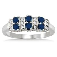 Six Stone Sapphire and Diamond Ring 14k White Gold