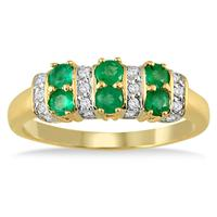 Six Stone Emerald and Diamond Ring 14k Yellow Gold