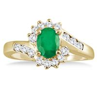 1 Carat Emerald and Diamond Flower Twist Ring in 14K Yellow Gold
