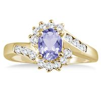1 Carat Tanzanite and Diamond Flower Twist Ring in 14K Yellow Gold