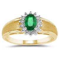Emerald and Diamond Flower Ring 10k Yellow Gold